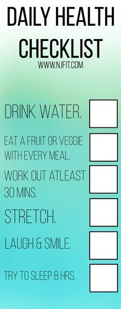 It's easy to get busy and forget the simple steps to a daily health routine. Here is a checklist. Save & repin as a reminder for those busy days. #health
