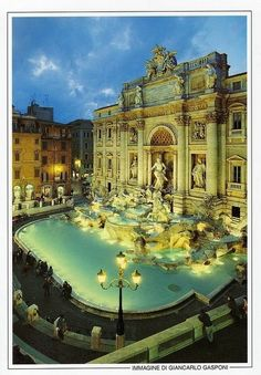 Rome, Italy . How beautiful the Trevi fountain is.