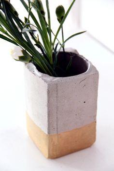Cement + gold planter