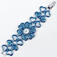 2pcs blue red women bracelet watch High quality antique alloy crystal diamond ladies watch fashion quartz adjustable Wrist Watch