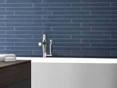 What did we say about blue for 2018 - it's in style and for good reason too, it's a calming, neautral and sophisticated colour associated with white collar workers, the sky, the ocean and the good guys in almost every film - #bluetile #subwaytile #bluesubwaytile #bricktile #subway #bathroom #bathroomtile #bathroomideas #bathroominspo #modernbathroom #luxurybathroom #bathroomdesign #bathroomdecor #bathroomreno #reno #renoinspo #wallaccent #design #love #modern #fresh #interiordesign #decor…