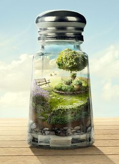 Write about a world that lives within a glass jar. Perhaps the jars all hang from the ceiling in a room, and there are many different worlds. Someone tends to the jars and has the ability to create and travel to these worlds.