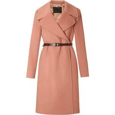 Marc Jacobs Double-Faced Cashmere Belted Coat (€800) ❤ liked on Polyvore featuring outerwear, coats, jackets, coats & jackets, pink, rose, wrap coat with belt, reversible leather belt, pink coat and pink cashmere coat