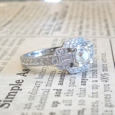Half Carat Diamond and White Gold Art Deco door AJMartinJewelry  Feels Great Gatsby to me <3