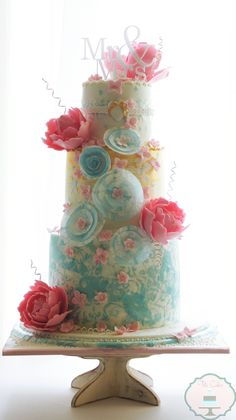 Yummy cake and beautiful colours of icing.