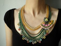 Beaded crochet necklace: Humboldtia Brunonis - necklace with beige, gray, yellow and green beaded flowers and lace
