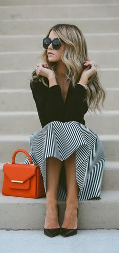 Statement patterns spring + Cara Loren + striped A line skirt + sophisticated look paired + black top. Skirt: Windsor, Top: Shopbop, Shoes: The Cammeo.