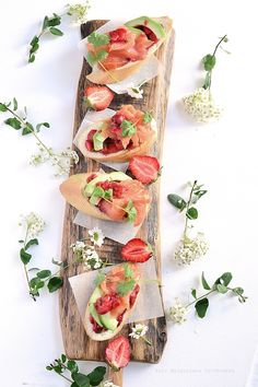 baguette with smoked salmon and tartar with strawberries