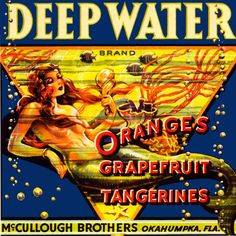Okahumpka Deep Water Florida Mermaid Orange Fruit Crate Label Art Print #DeepWater