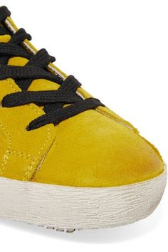 Golden Goose Deluxe Brand - Superstar Distressed Leather-paneled Suede Sneakers - Chartreuse - IT