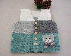 Hand knit baby vest /cardigan / with Teddy.Unisex baby Hand knit baby vest /cardigan / with Teddy. Cardigan Bebe, Crochet Baby Cardigan, Knit Crochet, Summer Cardigan, Knit Vest, Baby Knitting Patterns, Hand Knitting, Pull Bebe, Baby Sweaters