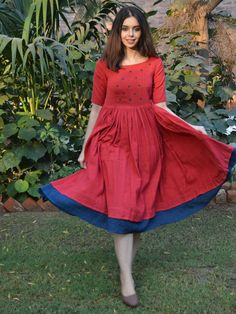 Shop online Red indigo layer frock with polka applique Red cotton frock style dress with lots of waistline gathers, and an indigo layer at the bottom. The bodice is embellished with applique indigo dots Frock Fashion, Indian Fashion Dresses, Indian Gowns Dresses, Indian Designer Outfits, Designer Dresses, Indian Outfits, Simple Frocks, Casual Frocks, Dress Casual