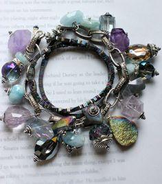 Charm bracelet, multi strand bracelet, labradorite bracelet, amethyst bracelet…