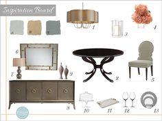 Interior Design Board, Online Interior Design, inspiration boards, e design, e decorating, style boards, dining rooms, www.stellarinteriordesign.com/design/