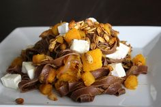 Part of my Chocolate dinner party Collection; Chocolate pasta with pumpkin, goats cheese and crispy pumpkin seeds by Heather Christo, via Allergy Free Recipes, Chef Recipes, Dessert Recipes, Desserts, Chocolate Pasta, Pumpkin Sauce, Fall Dishes, Yummy Snacks, Delicious Recipes
