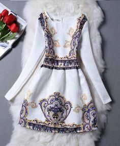 Glamorous Vintage Design Long Sleeve Fashion Dress
