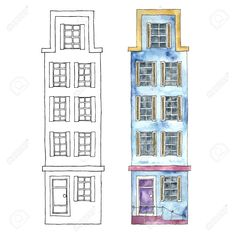 Watercolor Cartoon Buildings. Stock Photo, Picture And Royalty Free Image. Image 45857794.