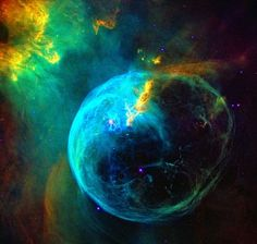 Hubble's 26th birthday image of the bubble blue nebula...