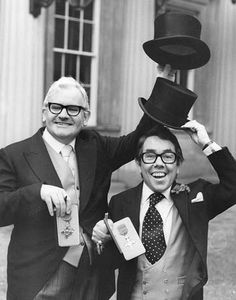 The Two Ronnies: Ronnie Barker (left) and Ronnie Corbett. S) TV Show Comedy Actors, Comedy Duos, Actors & Actresses, Ronnie Corbett, The Two Ronnies, Ronnie Barker, Michael Palin, British Comedy, British Actors