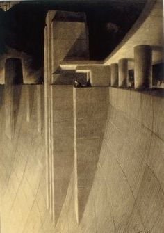 Hugh Ferriss sketch (The things we make have become bigger than the individual; like the state.)
