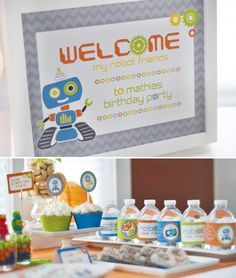 Retro Robot Birthday Party Dessert Table