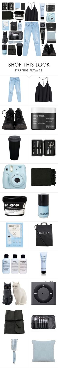 """""""distressed"""" by moondust-and-earthlight ❤ liked on Polyvore featuring H&M, Living Proof, John Lewis, PAM, Fujifilm, Surya, Monki, Kocostar, Givenchy and philosophy"""