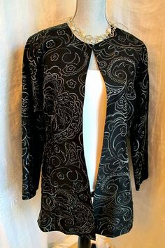 CHICOS 1 Black Silver Jacket Tunic Top Sillk Floral Paisley Embroidered Coat