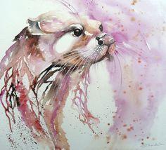 Otter Poster, Otter Art Print, River Otter Wall Art, Sea Otter Watercolour Illustration, Otter Gift Framed or Unframed by Liz Chaderton Wall Canvas, Wall Art, Wall Mural, Canvas Size, Wall Decor, Watercolor Illustration, Watercolor Art, Otter Tattoo, Painting Prints