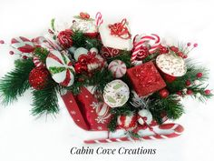Items similar to Sweet Treat Sleigh Christmas Candy Centerpiece, Holiday Floral Arrangement , red white green, CUSTOM Designs by Cabin Cove Creations on Etsy Christmas Tree Design, Handmade Christmas Decorations, Christmas Candle, Christmas Crafts, Christmas Hacks, Holiday Decor, Candy Centerpieces, Christmas Centerpieces, Floral Centerpieces