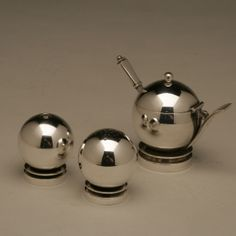 "Gallery 925 - Georg Jensen ""Pyramid"" Mustard Pot and Salt and Pepper Set, No. 632."
