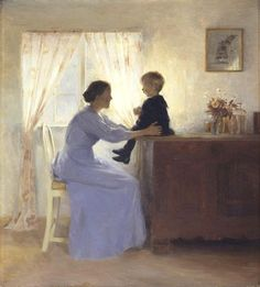 Mother and Child in an Interior ~ Peter Vilhelm Ilsted (Danish artist, 1861-1933):