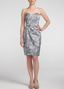 Printed lace bringschic appeal tothis ultra-feminine bridesmaid dress!  Strapless bodice features charming sweetheart necklinethat beautifully frames the face.  Pleating at the waist gives you an elegant look.  Hits right above the knee.  Fully lined. Imported polyester.Backzip. Dry clean only.