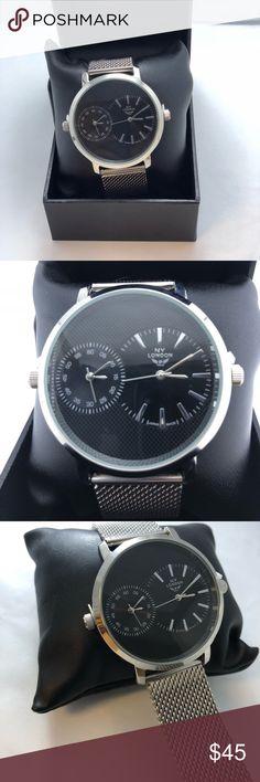 Fancy watch Two Time Zone Silver/black NWT