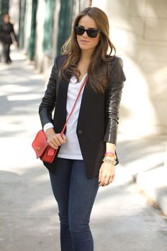 Gal Meets Glam stacking her Stella & Dot bangles! <- What I like about this is the classic, neutral blazer, jeans white tee ensemble with wee pops of colour to make it more interesting.