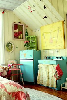 adorable children's room - awesome turquoise play kitchen