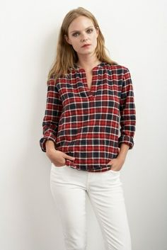 VENISE PLAID HALF-PLACKET SHIRT by Velvet by Grahamam & Spencer (gotta work some white jeans in my wear this year!)