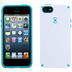 Speck CandyShell for iPhone 5 - White/Peacock Blue ($19) ❤ liked on Polyvore featuring accessories, tech accessories, phone, phone cases, phonecases, speck iphone cases, print iphone case, iphone cover case, white iphone case and apple iphone cases