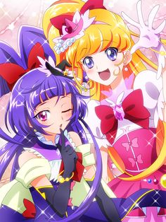 2girls :d ;o asahina_mirai black_gloves blonde_hair blush cure_magical cure_miracle elbow_gloves gloves hat heart highres index_finger_raised long_hair looking_at_viewer magical_girl mahou_girls_precure! masako_(sabotage-mode) multiple_girls one_eye_closed open_mouth pink_eyes precure purple_hair riko_(mahou_girls_precure!) smile star violet_eyes white_gloves witch_hat