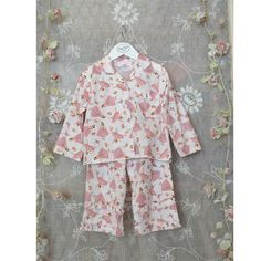 These Pretty Ballerina Girl Cotton Pyjamas with an all over design, 3 covered buttons to the front with a pocket edged with a frill.    #Cotton #pyjamas #girlnightwear