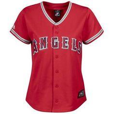 Los Angeles Angels of Anaheim Blank Replica Red Alternate Majestic Women's MLB Jersey