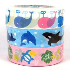 Kawaii deco tape  Set of 3 rolls x 10m Ocean by scrapbooksupply, $3.80