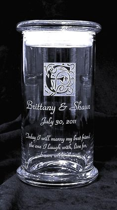 Possible Sand Ceremony container  http://www.etsy.com/listing/75112806/sand-unity-main-vase-personalized-status