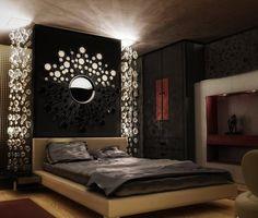 chambre romantique couleurs-foncées-grand-miroir-design