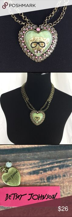 "NWT Betsey Johnson Necklace Pug Love Necklace NWT store backstock - Betsy Johnson necklace 16"" w additional 3"" of adj chain. See picture with ruler for size perspective Betsey Johnson Jewelry Necklaces"