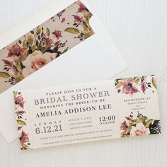 Set the tone of your bridal shower with Soft Roses, Beacon Lane's floral style invitations with patterned envelope liners specially made for your party.