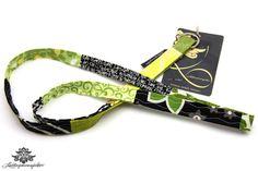 Schwarz - grünes Schlüsselband schmal von #Lieblingsmanufaktur
