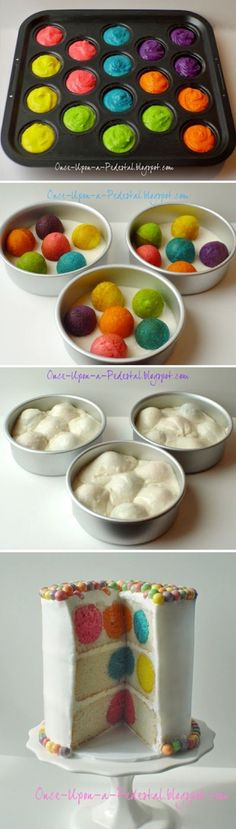 Use food dye to die cupcakes or cakepops different colors. Put partially baked cupcakes/cakepops in middle of the rest of the normal cake batter in cake pans. bake normally, assemble cake. Awesome color surprise when cut! Food Cakes, Cupcake Cakes, Cupcakes Kids, Cupcake Ideas, Just Desserts, Delicious Desserts, Yummy Food, Yummy Treats, Sweet Treats