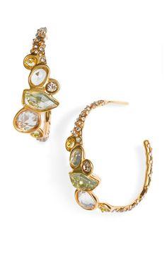 Alexis Bittar Miss Havisham Droplet Hoop Earrings.