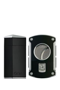 Diamond Black Cigar Cutter and Lighter Set  DiamondMen #Accessories