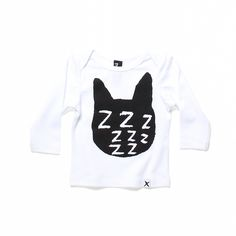 Minti Baby Zzz Cat Ls Envelope Tee White